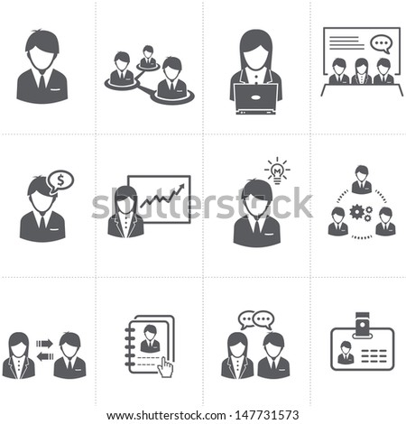 Management and Human Resource businessman Icons