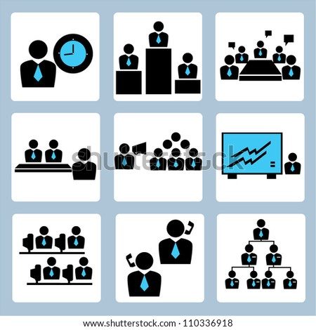 management and human resource icon set
