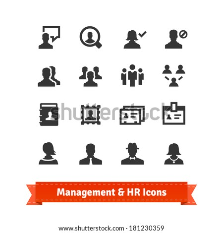 Management and human resources icons set. Business persons, HR accounting.