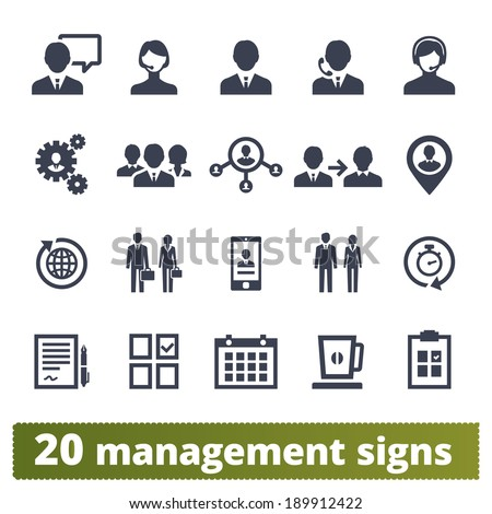 Management, business, developing, ceo, office persons and users: vector icons set.
