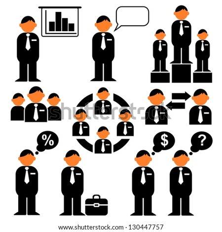 Management business human resources icons, vector