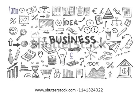 Management concept with Doodle design style. Hand drawn business symbols.