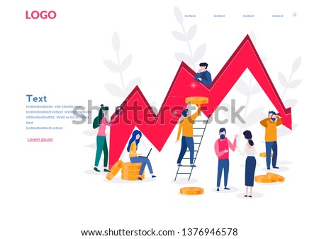 Management failed to achieve profit, sad business people around, Business on falling down chart, arrow, Business fail, risk, problem. Vector illustration.