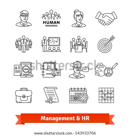 Management & Human resources. Thin line art icons set. Consulting, team work, office people. Linear style symbols isolated on white.