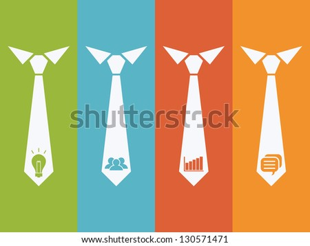 management icons set with neck tie back ground