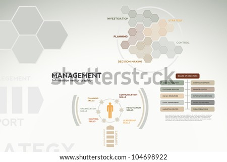 Management infographics - graphs, charts and statistics for presentations, teamwork, reports, etc.