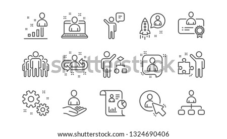 Management line icons. Business people, Algorithm and Group. Startup strategy linear icon set.  Vector