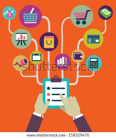 Management of business and payment. Flat style - vector illustration