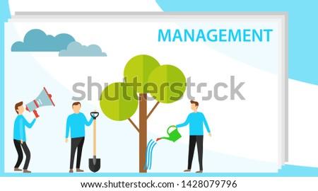 Management, personnel management. Mentor manages his subordinates. Vector illustration, vector.