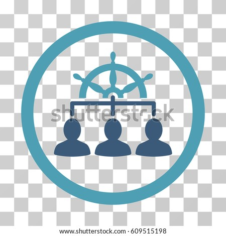 Management Steering Wheel icon. Vector illustration style is flat iconic bicolor symbol, cyan and blue colors, transparent background. Designed for web and software interfaces.