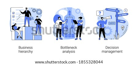 Management system abstract concept vector illustration set. Business hierarchy, bottleneck analysis, decision management, workflow improvement, enterprise analysis software, IT tool abstract metaphor.