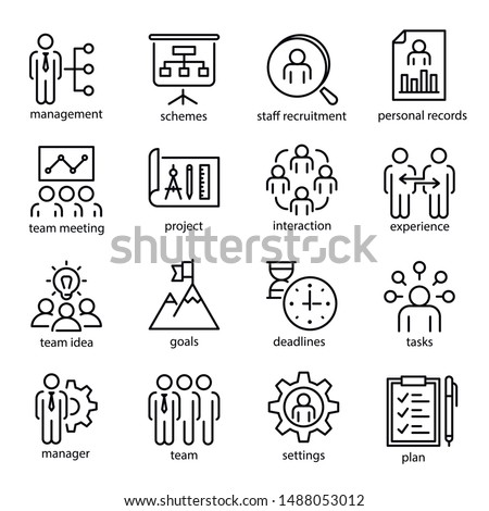 Management vector linear icons set. Staff recruitment, team meeting and project scheme thin line illustrations pack. Business administration. Tasks, deadlines and settings isolated clipart collection