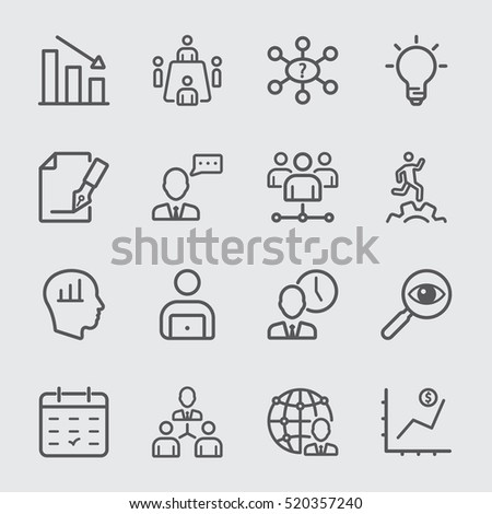 Management workflow line icon #520357240