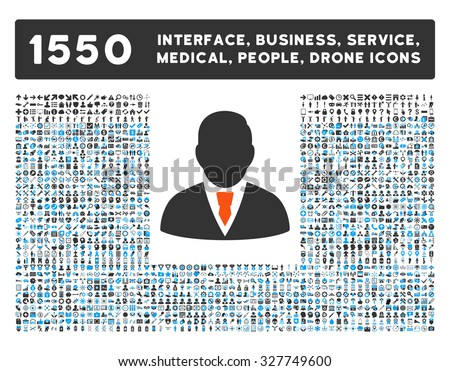 Manager and other web interface, business tools, people poses, medical service vector icons. Style is flat symbols, bicolored, rounded angles, white background.