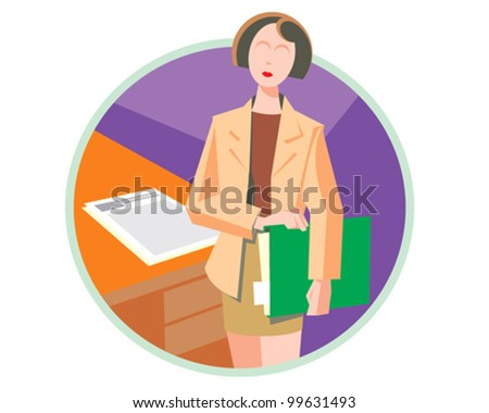 Manager at work business woman - vector icon illustration