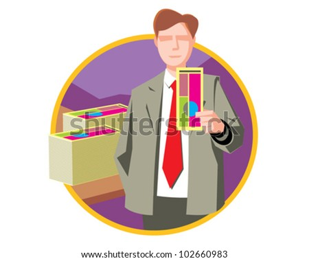 Manager at work businessman - vector icon illustration