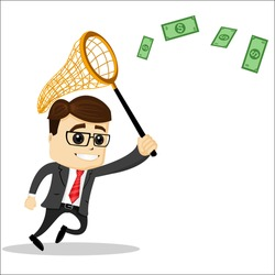 Manager character with a net to catch money. Net to catch. Manager character is running. Smiling and running manager character.