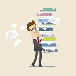 Manager, clerk, office woker. A man drags a big pile of documents. Illustration, vector EPS10.