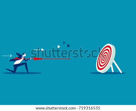 Manager determination and target. Concept business vector illustration. Flat design style.