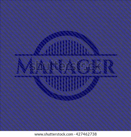 Manager emblem with jean background