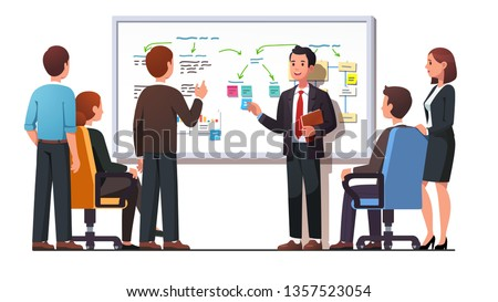 Manager employee presenting new business strategy project to higher rank executives or directors board members man & woman bosses. White board diagram presentation. Flat vector illustration