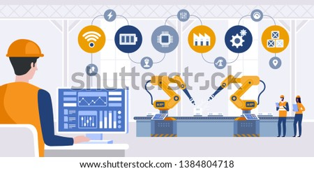 Manager engineer check and control automation robot arms machine in intelligent factory industrial on real time monitoring system software. Industry 4.0 concept. Vector illustration