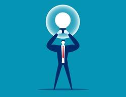 Manager holding best idea bulb. Creative good idea
