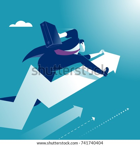 Manager jumps on a rising arrow. Concept illustration