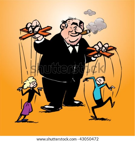 Manager Manipulating His Personnel On Strings Stock Vector ...