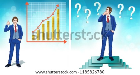 Manager. Office worker. Businessman. Business man. Financial bar chart with golden coins. Color cartoon clipart characters. Vector illustration.