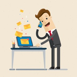 Manager or businessman  receives many emails and calls. Working day, business. Vector, flat, illustration