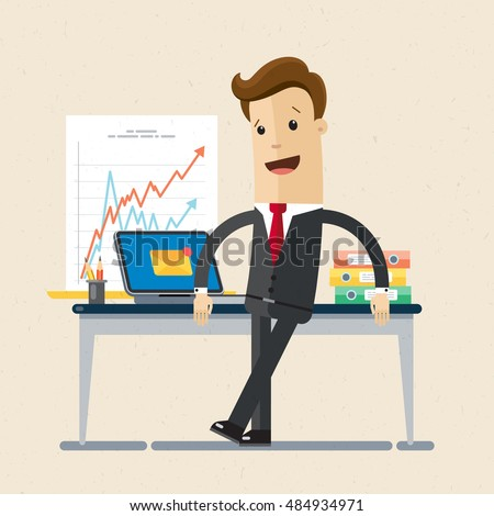 Manager or businessman stand near table in a office workplace. Vector, illustration, flat