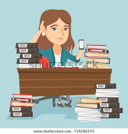 Manager sitting at workplace with stacks of documents and holding mobile phone in hand. Caucasian manager feeling stress from work. Stress at work concept. Vector cartoon illustration. Square layout.