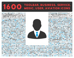 Manager vector icon and 1600 other business, service tools, medical care, software toolbar, web interface pictograms. Style is bicolor flat symbols, blue and gray colors, rounded angles, white