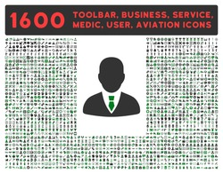 Manager vector icon and 1600 other business, service tools, medical care, software toolbar, web interface pictograms. Style is bicolor flat symbols, green and gray colors, rounded angles, white