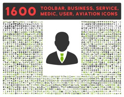 Manager vector icon and 1600 other business, service tools, medical care, software toolbar, web interface pictograms. Style is bicolor flat symbols, eco green and gray colors, rounded angles, white