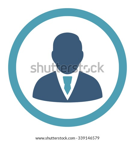 Manager vector icon. Style is bicolor flat rounded symbol, cyan and blue colors, rounded angles, white background.