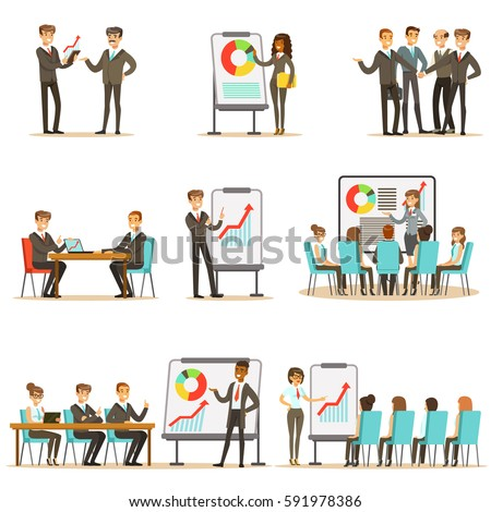 Managers And Office Workers On Business Training Class, Developing Marketing And Business Management Skills And Knowledge Set