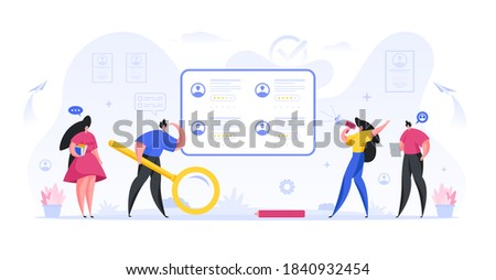 Managers hr conduct an online search and recruitment of qualified employees flat concept. Experienced marketers people scan web resumes and invite best workers to teamwork interview Сток-фото ©