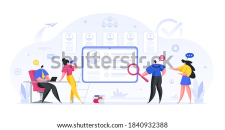 Managers reviewing online job candidates characteristics vector concept. Male and female characters recruiters analyze job seekers web resumes and invite them to interviews Photo stock ©