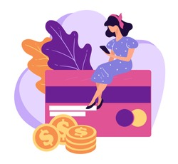 Managing banking accounts and credit cards with smartphone. Woman using smartphone to check status or balance. Investing or saving money, dollar golden coins, vector in flat style illustration