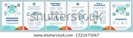 Managing emotions brochure template layout. Dealing with anger. Mental health. Flyer, leaflet print design, illustrations. Vector page layouts for magazines, annual reports, advertising posters
