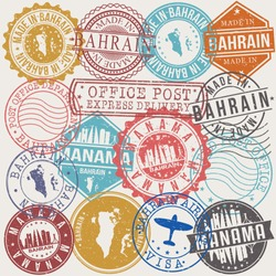 Manama Bahrain Set of Stamps. Travel Stamp. Made In Product. Design Seals Old Style Insignia.