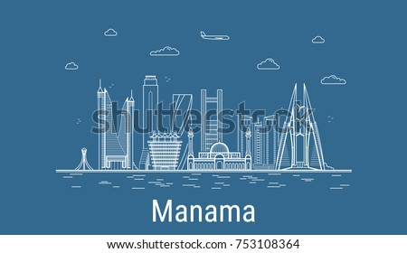 Manama city, Line Art Vector illustration with all famous buildings. Linear Banner with Showplace. Composition of Modern cityscape. Manama buildings set