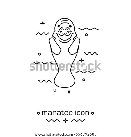 manatee icon isolated on white