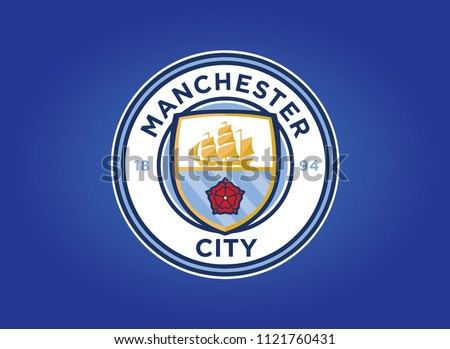 Manchester City Flag Blue Background