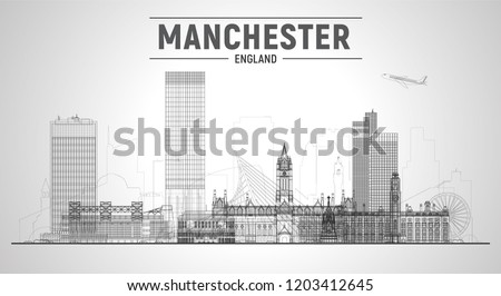 Manchester England skyline with panorama in white background. Vector Illustration. Business travel and tourism concept with modern buildings. Image for banner or web site.