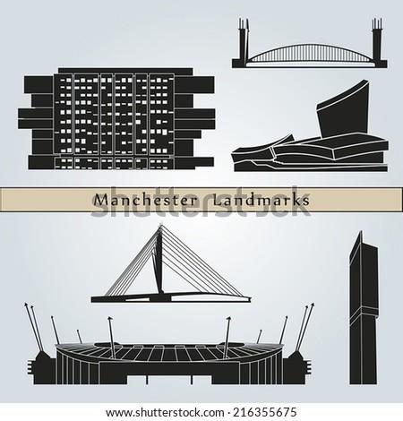 Постер, плакат: Manchester landmarks and monuments, холст на подрамнике