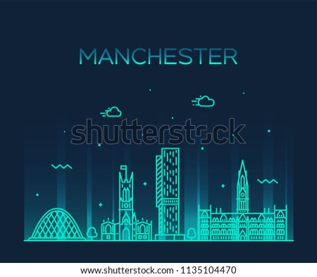 Manchester skyline, Greater Manchester, England. Trendy vector illustration, linear style