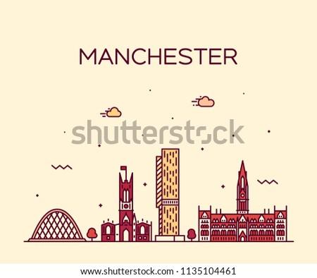 Manchester skyline, Greater Manchester, England, UK. Trendy vector illustration, linear style